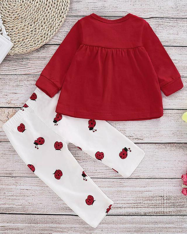 Baby 2 Piece Long Sleeve Ladybug Toddler Outfits/Baby