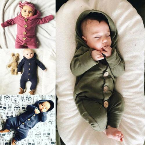 Baby Kids Boys Girls Jumpsuit Romper Hooded Bodysuit Outfit