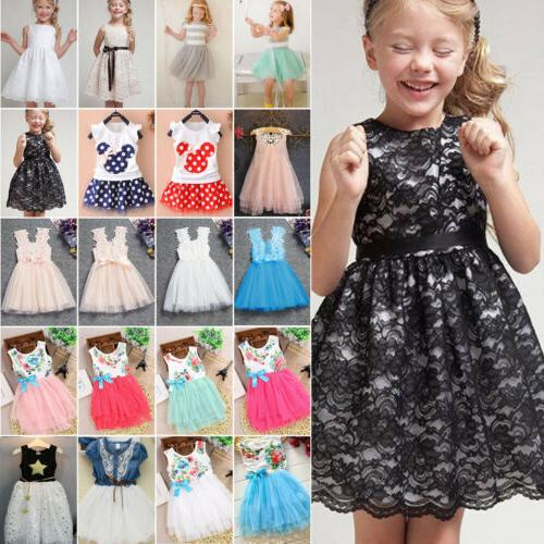 baby kids flower girls lace dresses party