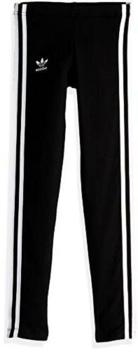 adidas Originals Girls' Big 3-Stripes Leggings, Black/White,