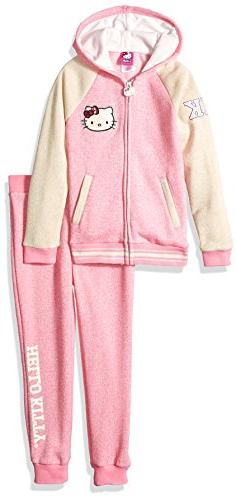 Hello Kitty Big Girls' 2 Piece Hooded Fleece Active Set, Pin