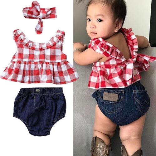 USA Summer Baby Girl Clothes 3Pcs Outfits Set Dress Tops+Den