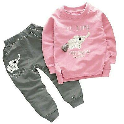 BomDeals Cute Cat Elephant Print Toddler Baby Girls Clothes