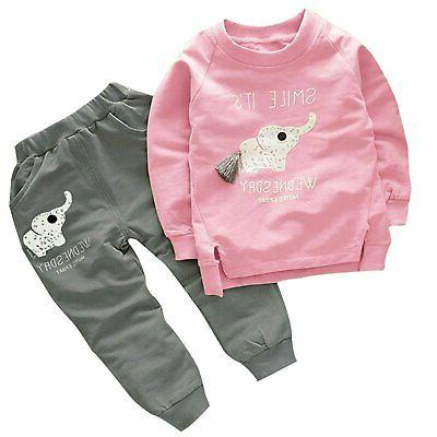 cute elephant print toddler baby girls clothes