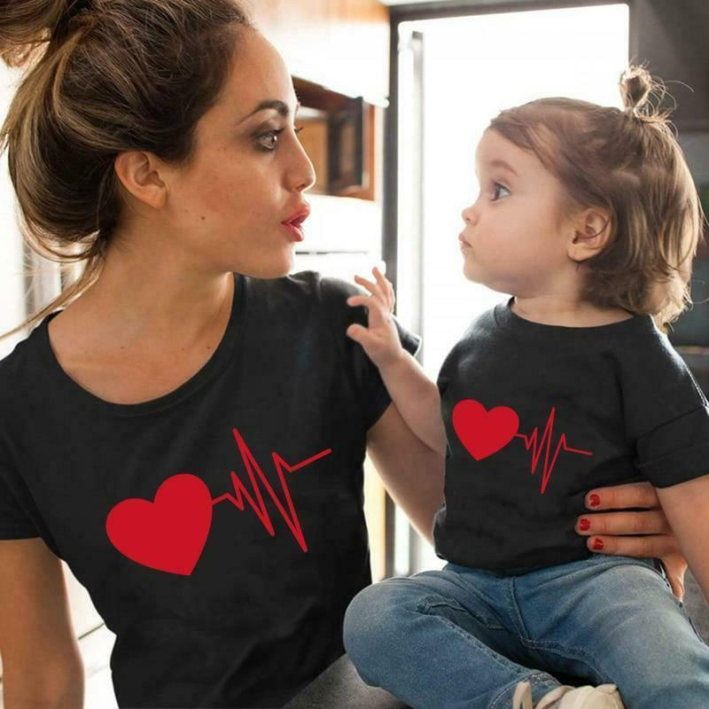 Cute Family Look Matching Clothes Mommy And Me Tshirt Mother