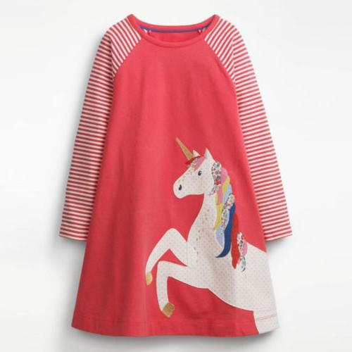 Cute Unicorn Toddler Kids Baby Party Stripes Long Dress US