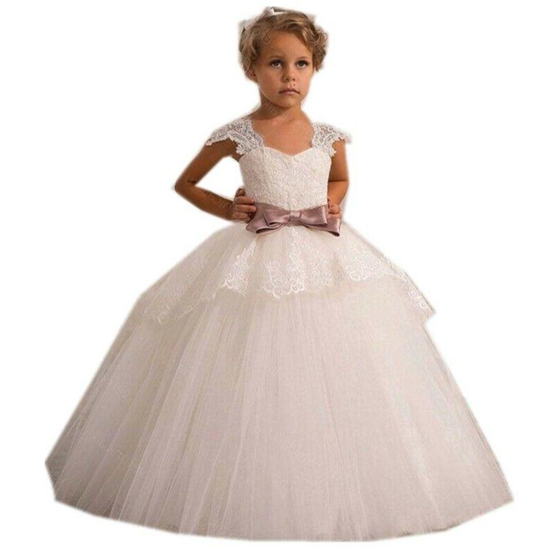 flower girl lace princess formal party wedding