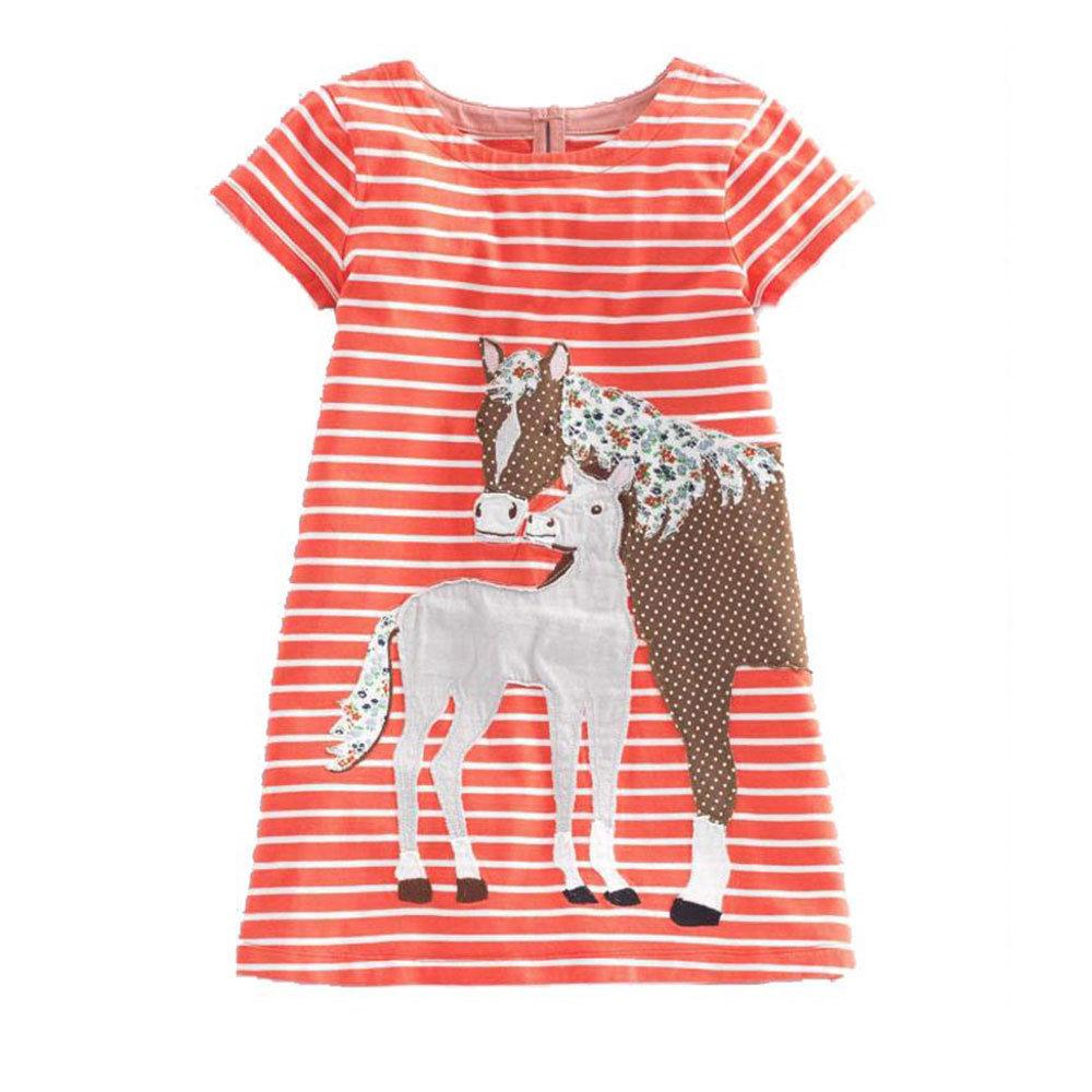 Girl Dress Jersey Striped Animal Applique Princess Clothing