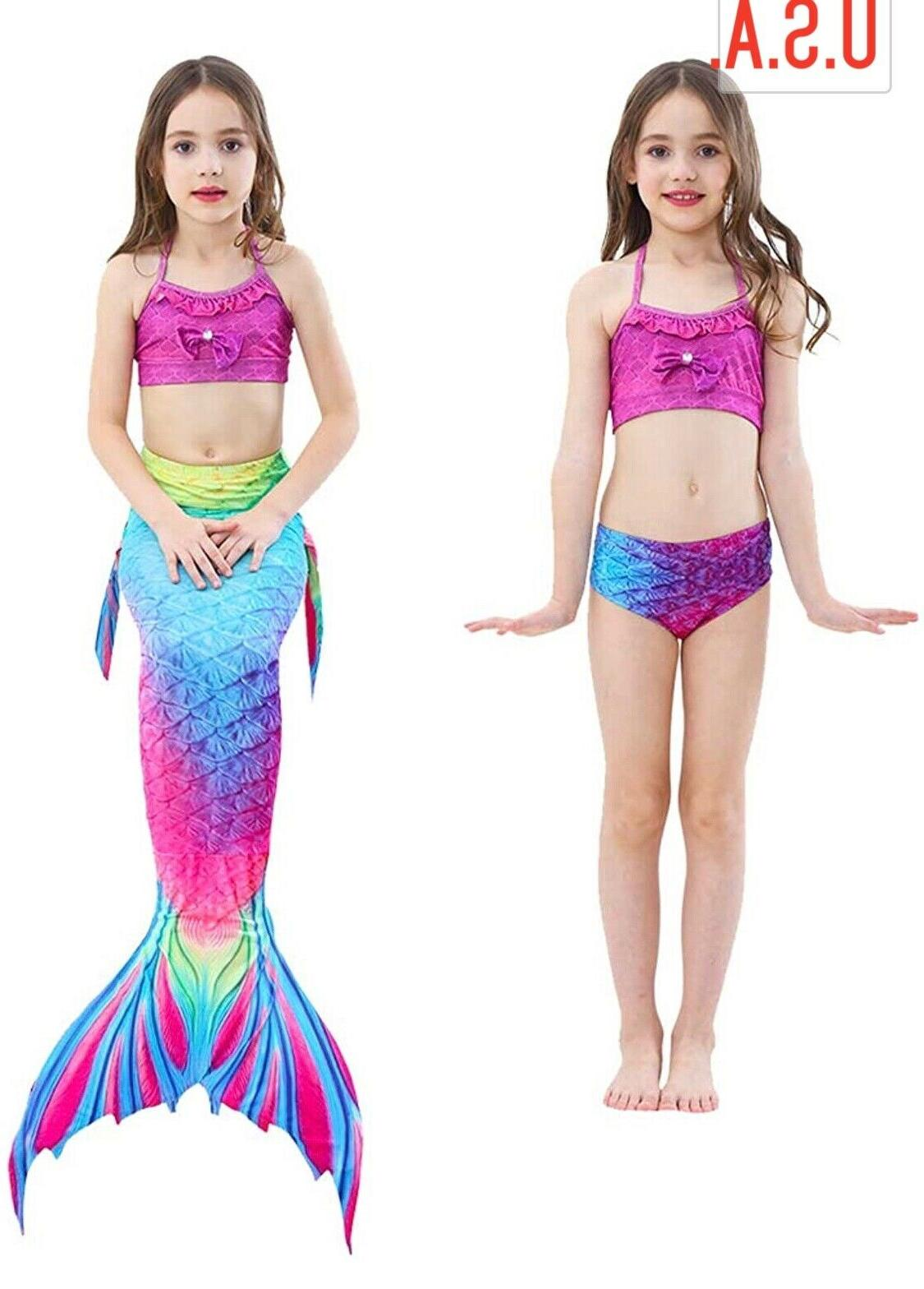 Girl's 3Pcs Swimwear Bikini Swimsuit, USA