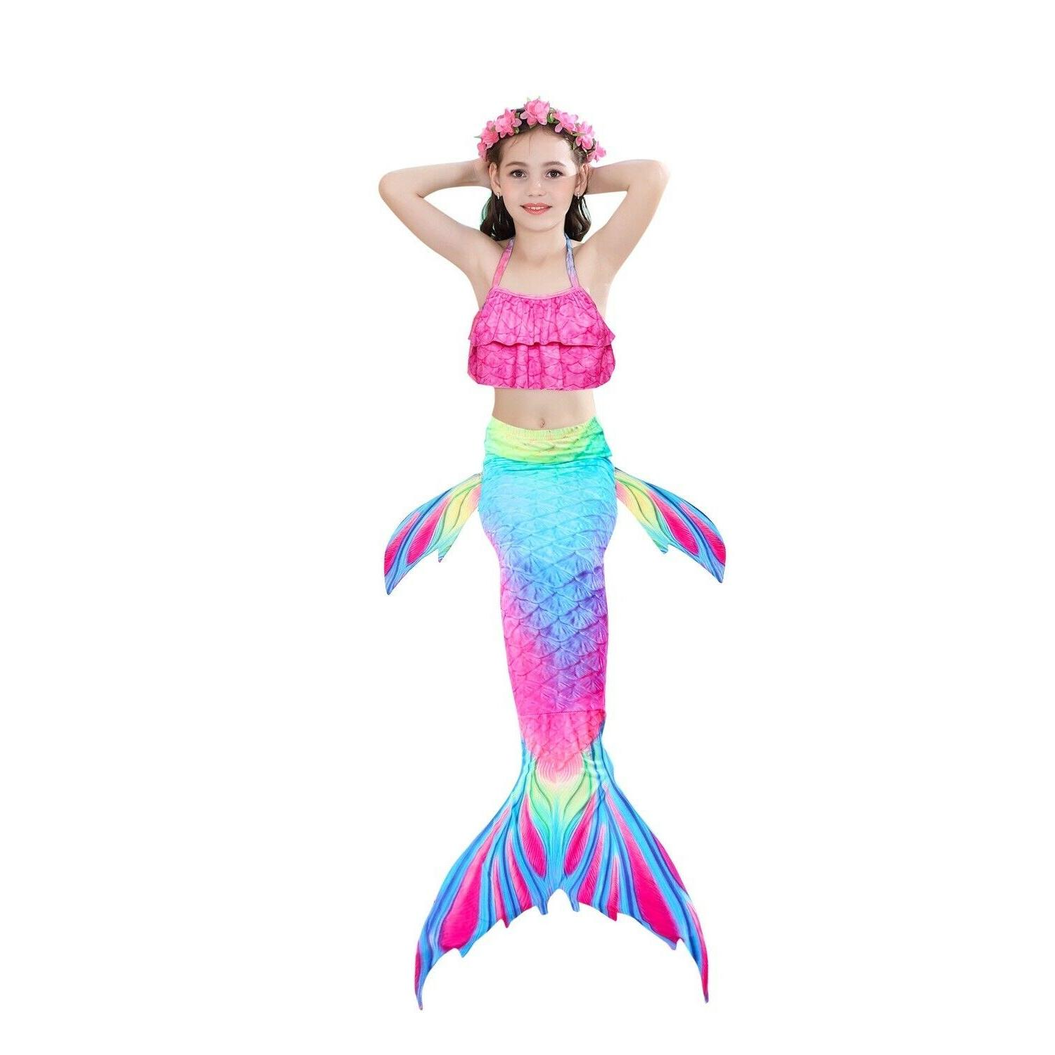 Girl's Mermaid Swimwear Children Clothing Cosplay Bikini Swimsuit, USA