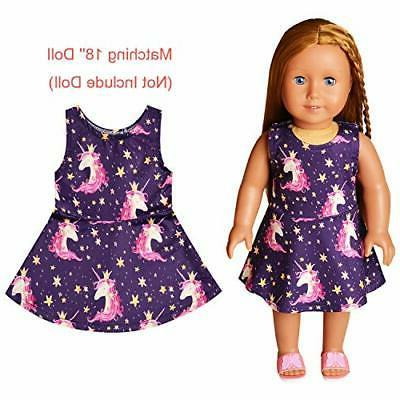 Girls&Doll Matching Dresses Unicorn Navy