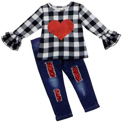 Girls Toddler Clothing Jeans Outfit, Plaid