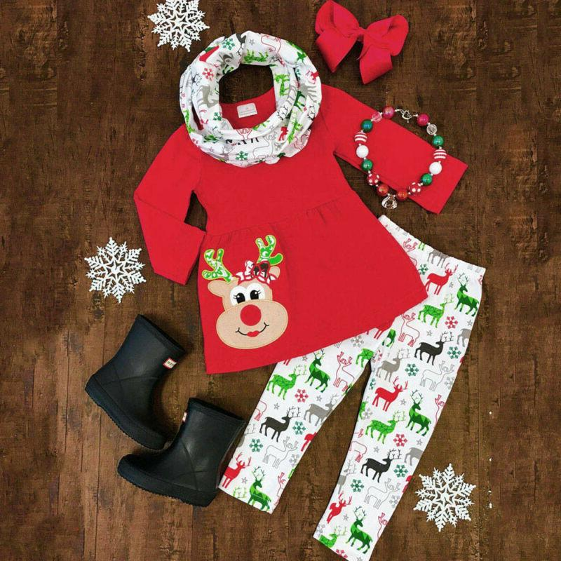 Girls Christmas Deer Print Dresses Outfits Clothing Casual Set