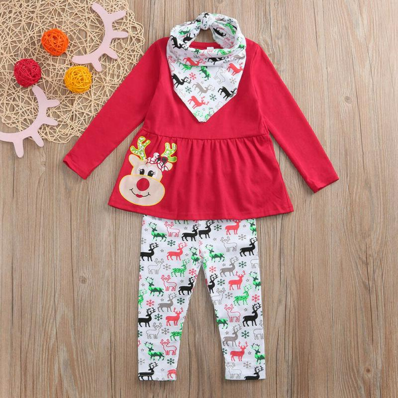 Girls Baby Deer Dresses Pants Outfits Clothing Casual