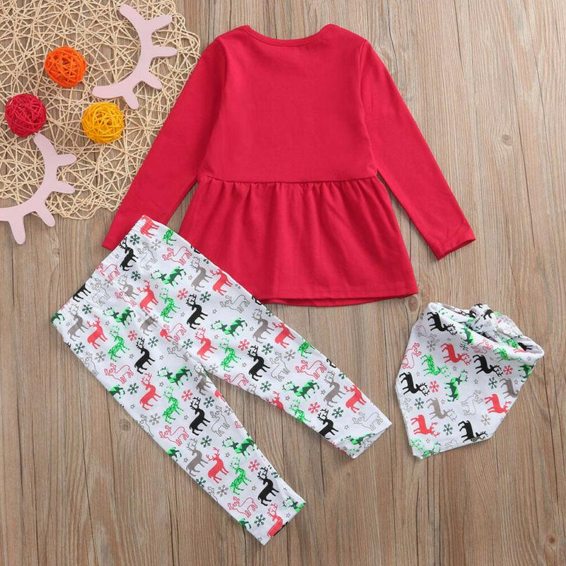 Girls Baby Christmas Deer Print Outfits Casual