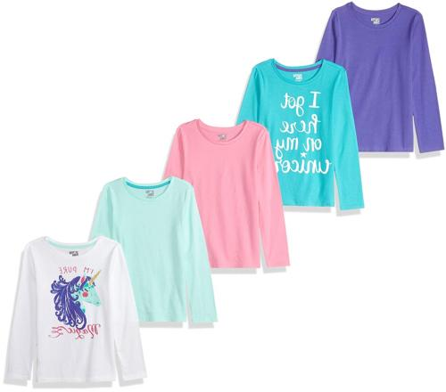 Spotted Zebra Girls' Big Kid 5-Pack Long-Sleeve T-Shirts, Ma