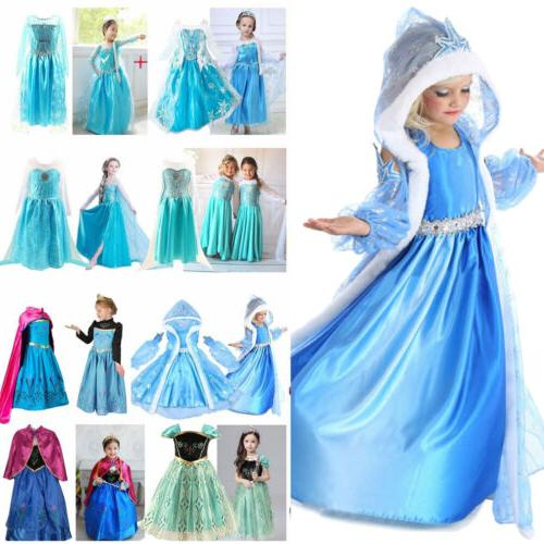 Girls Elsa Princess Dress Kids Cosplay Costume Party