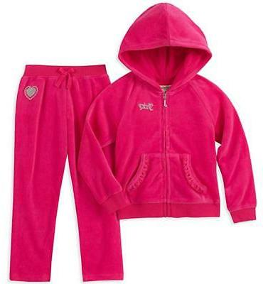 girls fuchsia velour 2pc jog set size