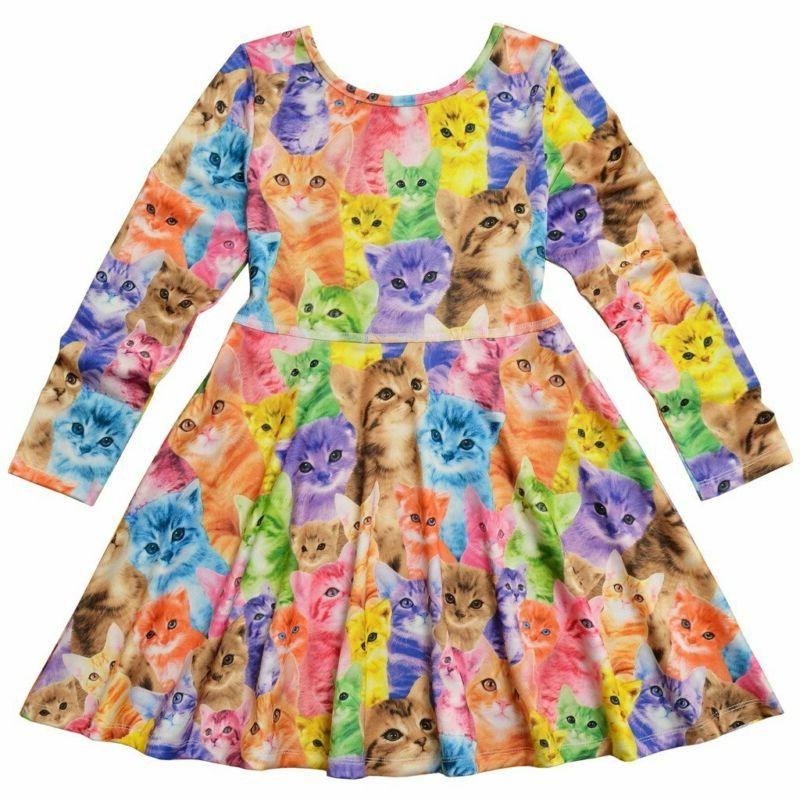 Jxstar Long Desss Kid Cat Unicorn Floral Print
