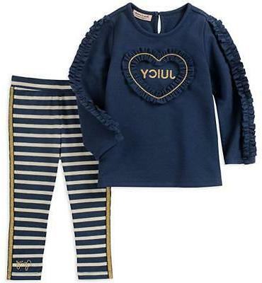 girls navy and gold 2pc legging size