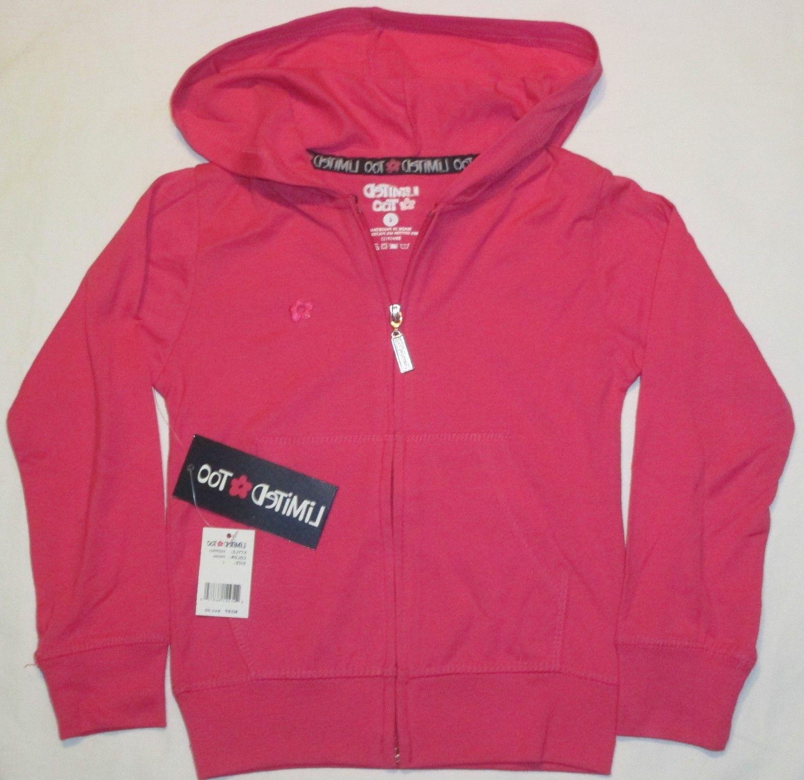 Girls Size 4 LIMITED TOO Brand PINK HOODIE Full Zip Lightwei