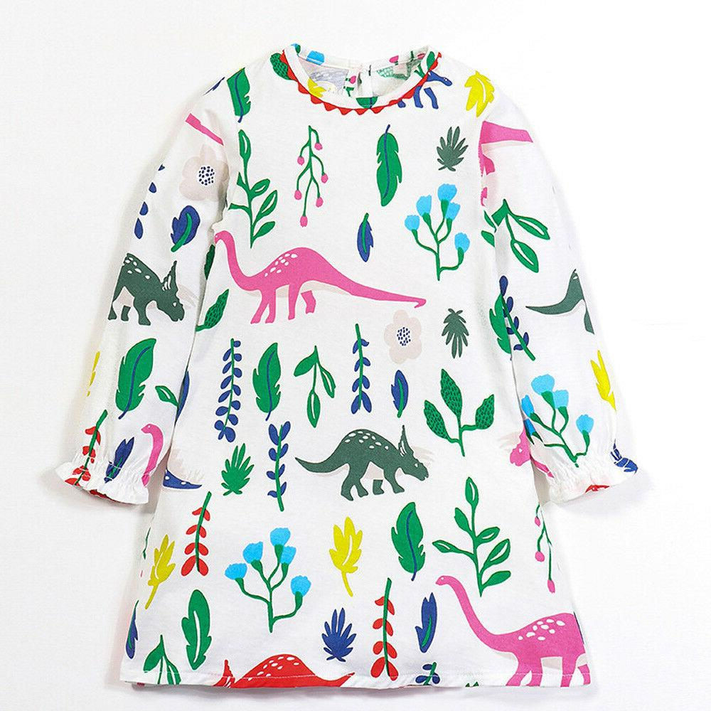 Girls Sweet Dinosaurs Floral Printed Full Sleeve Cotton Chil