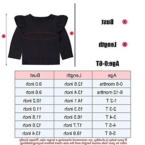 Infant Toddler Baby Girl Top Black Ruffle Tee Long T-Shirts Blouse 6-12 Months