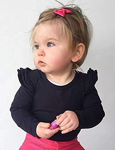 Infant Toddler Baby Girl Top Ruffle T-Shirts Clothes Months
