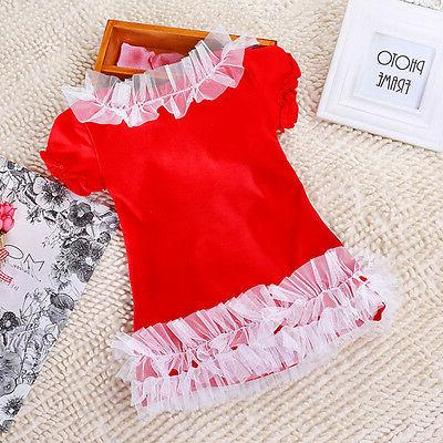 Kids Christmas Party Tops Casual Frilly Dresses