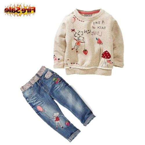Kids Baby Girls Clothing Warm Tops Sweater + Jeans Trousers