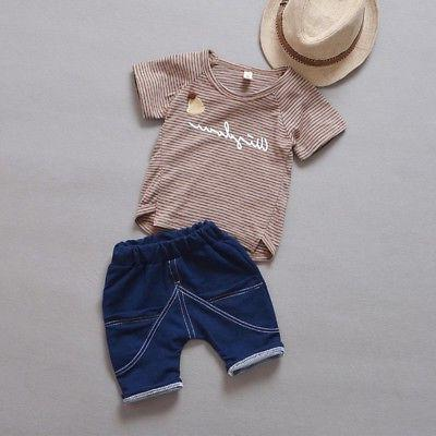 Kids Boys Girls Clothing Outfits Baby Party Suits T-shirt +
