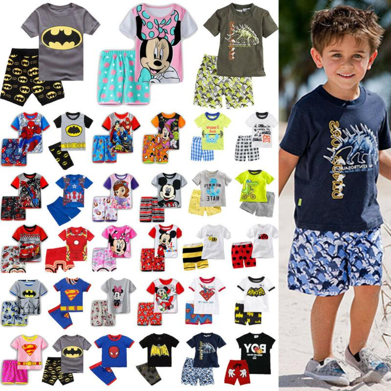 kids boys girls pajamas summer outfits clothes
