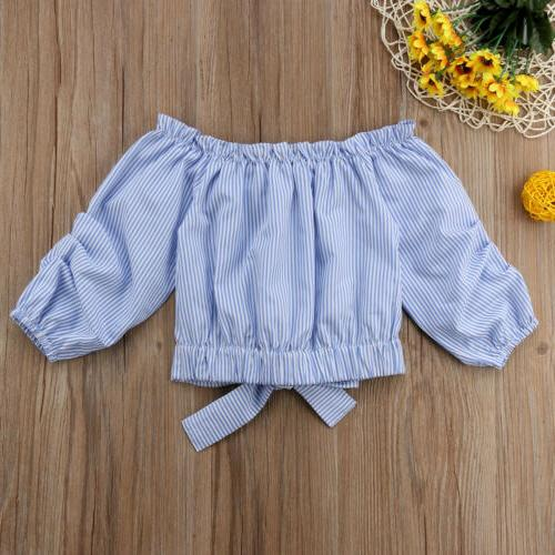 Kids Clothes Off Shoulder Baby Girls Long Sleeve Blouse