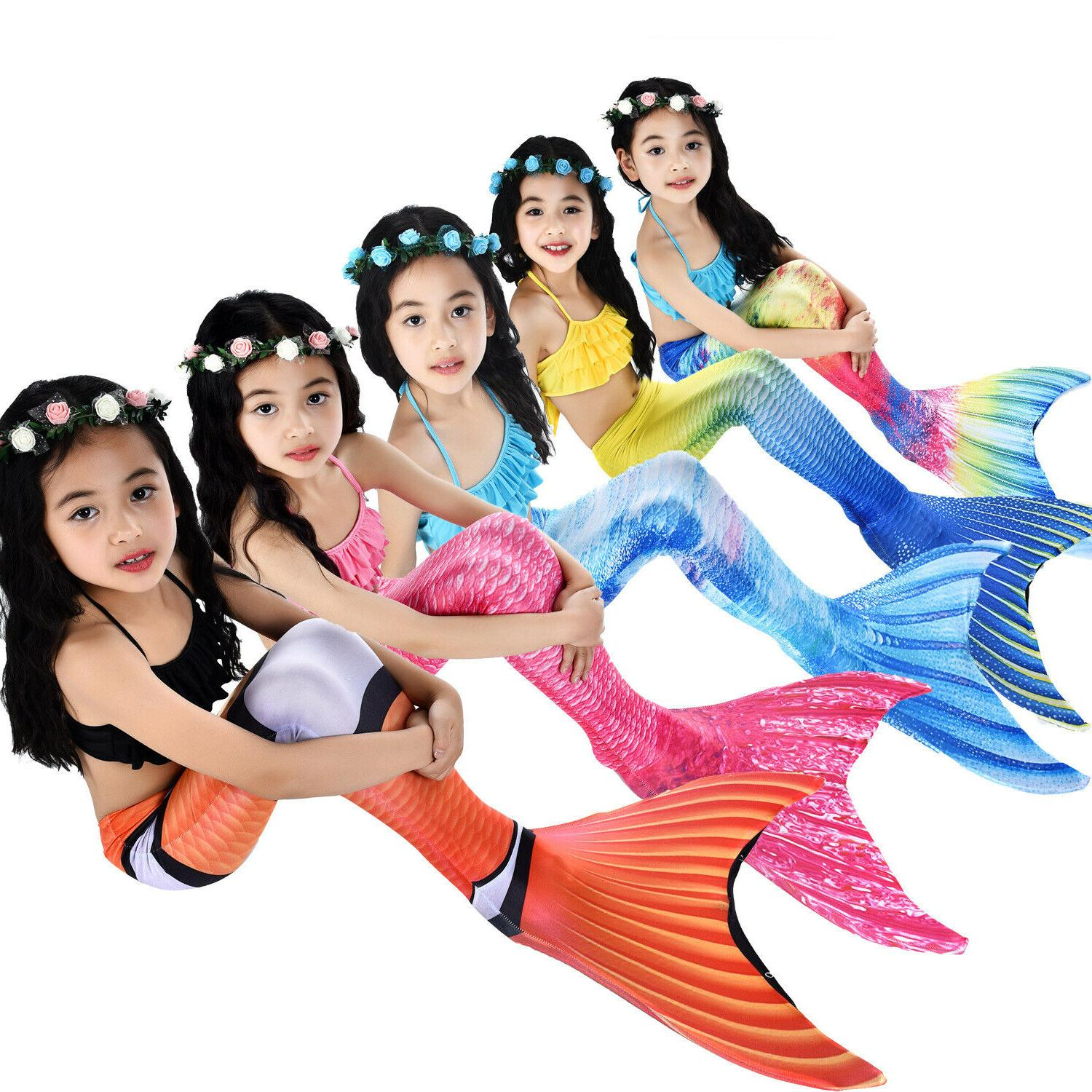 Kids Girls 3PCS Mermaid Tail Swimming Bikini Set Swimwear Costumes Summer Fun US