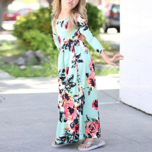 Kids Girls Boho Floral Maxi Dress Holiday Party
