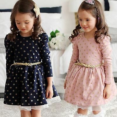 Kids Girls Sleeve Mini Dress Formal Casual Party