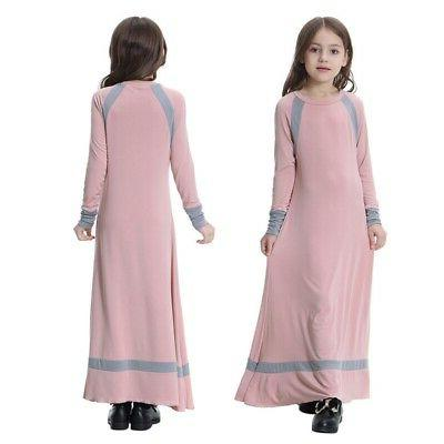 Muslim Maxi Dress for Kids Long Holiday Islamic Kaftan