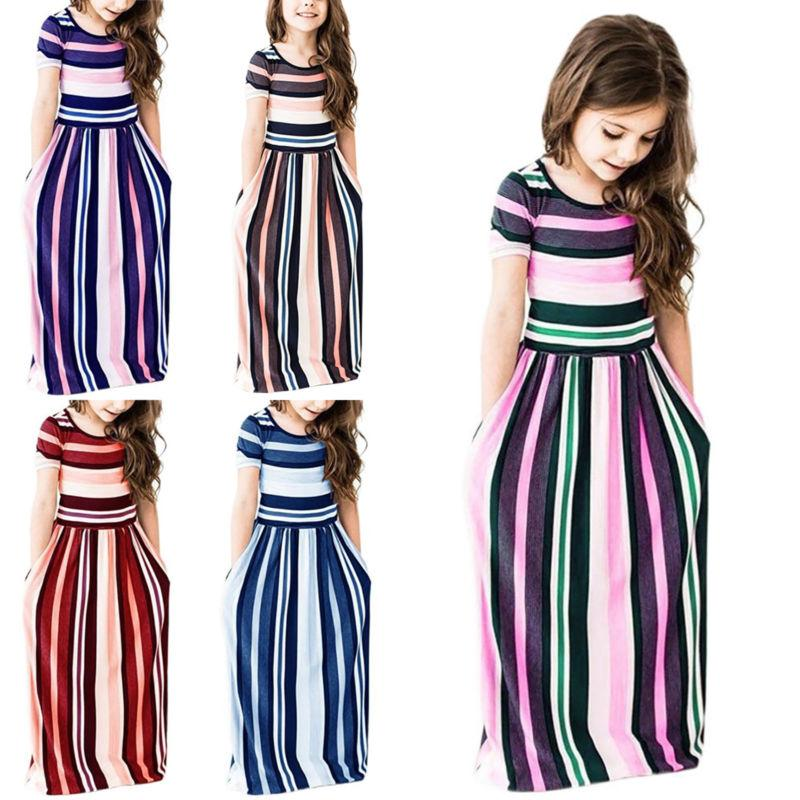Kids Short Striped Dresses Holiday Party Maxi Dress US