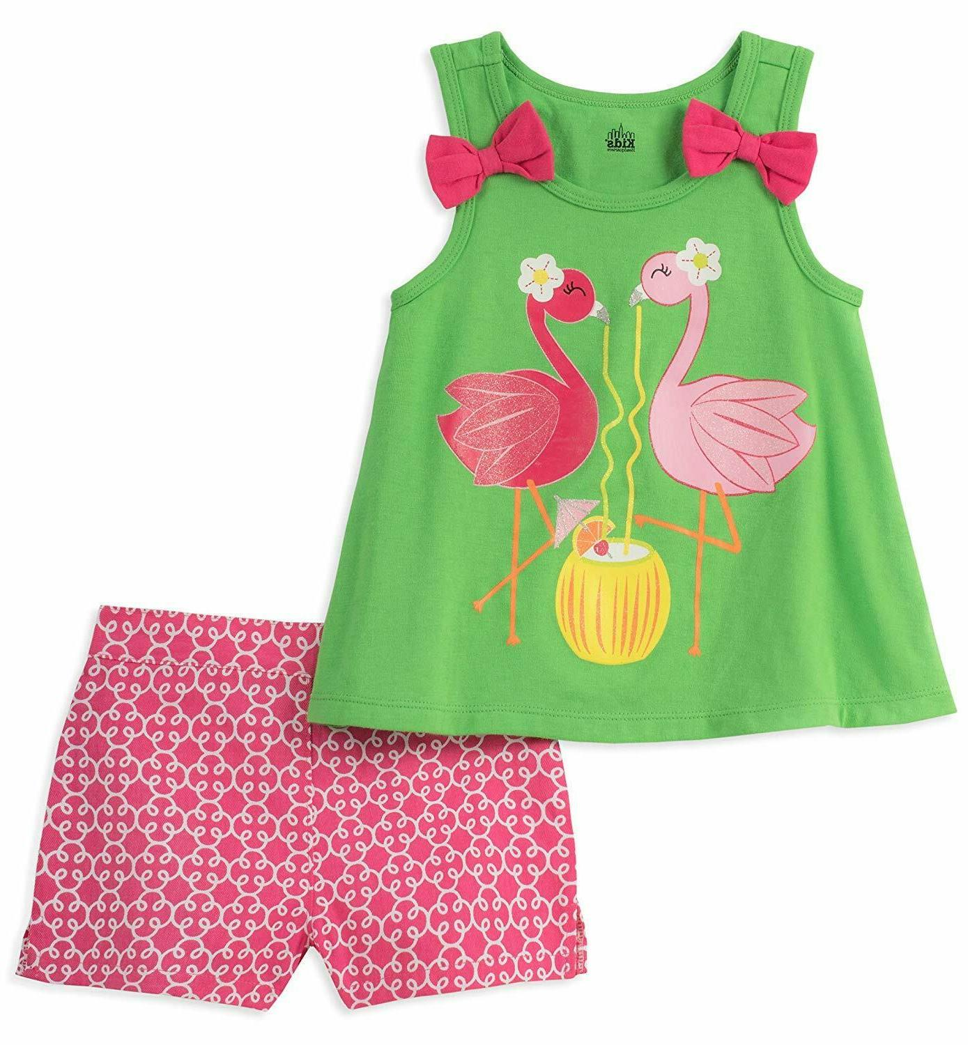 Kids Headquarters Girls Little 2 Pieces Shorts Set