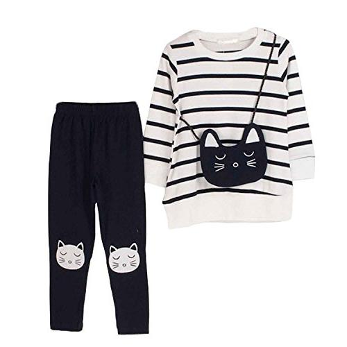 M RACLE Little Girls' Cat Long Sleeve Clothes Set