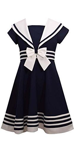 Bonnie Jean Big Girls' Fit and Flare Nautical Dress, Navy, 1