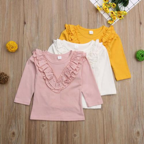 Long Sleeve Ruffle Tops T-Shirt Blouse Baby Girl Clothes Clothing