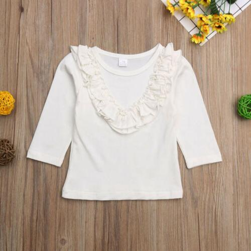 Long Ruffle T-Shirt Blouse Baby Clothes Kid Toddler Clothing