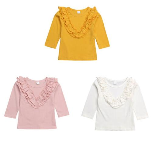 long sleeve ruffle tops t shirt blouse