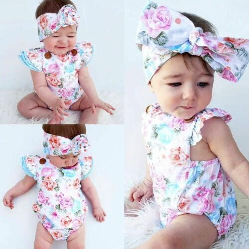 New-born Baby Girl Clothes Romper Headband Set