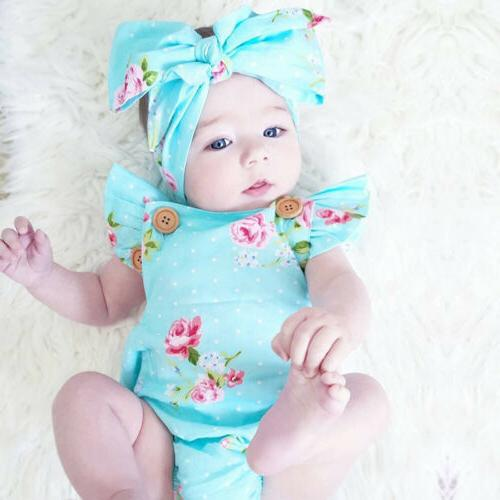 New-born Girl Clothes Jumpsuit Headband