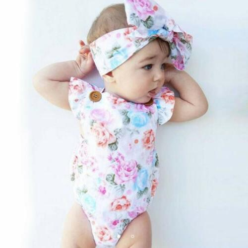 New-born Infant Clothes Jumpsuit Headband Set