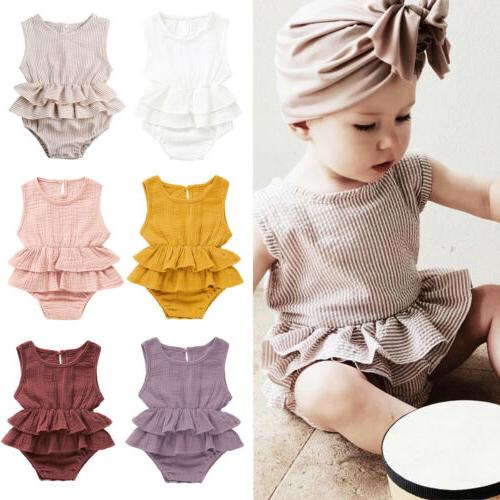 New Baby Girl Sleeveless Romper Tutu Outfit