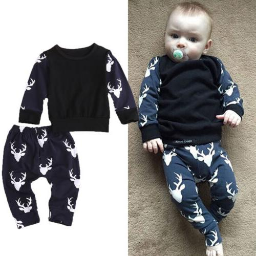 newborn baby boys girls deer tops t
