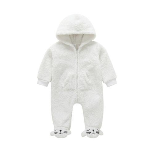 Newborn Baby Girl Fall Fuzzy Bodysuit Hoodies Clothes